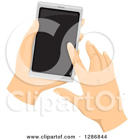 Clipart of Caucasian Hands Using a Touchscreen Smar Cell Phone - Royalty Free Vector Illustration by BNP Design Studio