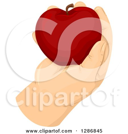 Clipart of a Fat Caucasian Hand Holding a Red Apple - Royalty Free Vector Illustration by BNP Design Studio