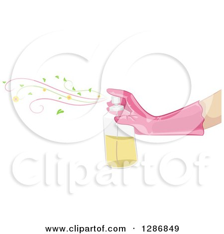 Clipart of a Caucasian Arm with a Pink Glove, Spryaing Air Freshener - Royalty Free Vector Illustration by BNP Design Studio