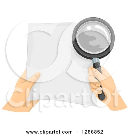 Clipart of White Hands Holding a Document and Magnifying Glass - Royalty Free Vector Illustration by BNP Design Studio