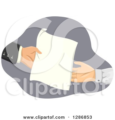 Clipart of White Hands Exchanging a Document - Royalty Free Vector Illustration by BNP Design Studio