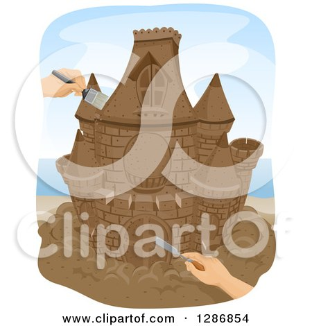Clipart of White Hands Sculpting and Brushing a Sand Castle on a Beach - Royalty Free Vector Illustration by BNP Design Studio
