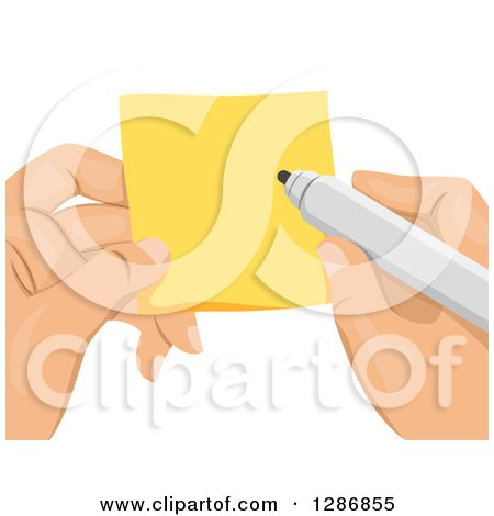 Clipart of White Hands Holding and Writing on a Sticky Note - Royalty Free Vector Illustration by BNP Design Studio