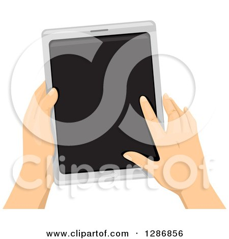 Clipart of White Hands Holding and Using a Tablet Computer - Royalty Free Vector Illustration by BNP Design Studio