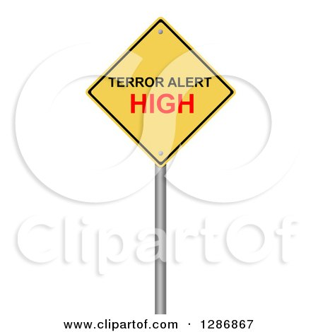 Clipart of a 3d Yellow Terrer Alert High Warning Sign on White - Royalty Free Illustration by oboy