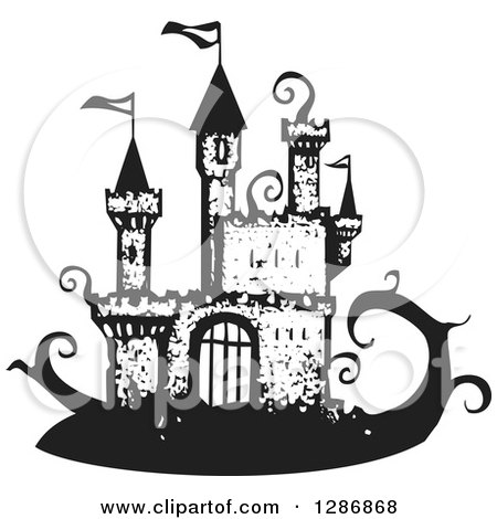 Clipart of a Black and White Woodcut Fantasy Jack and the Beanstalk Castle - Royalty Free Vector Illustration by xunantunich