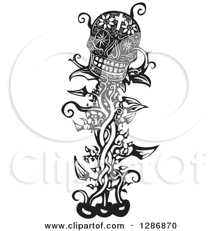 Clipart of a Black and White Woodcut Beanstalk with a Skull at the Top - Royalty Free Vector Illustration by xunantunich