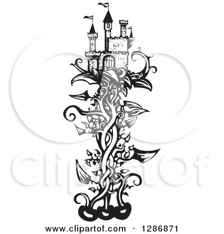 Clipart of a Black and White Woodcut Fantasy Castle on a Beanstalk - Royalty Free Vector Illustration by xunantunich