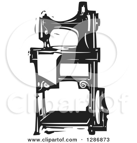 Black and White Woodcut Sewing Machine Posters, Art Prints