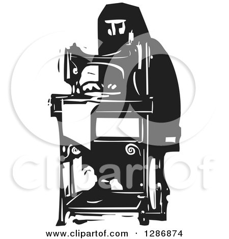 Clipart of a Black and White Woodcut Arabian Woman Working at a Sewing Machine - Royalty Free Vector Illustration by xunantunich