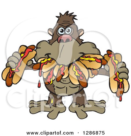 Clipart of a Hungry Ape Shoving Weenies in His Mouth at a Hot Dog Eating Contest - Royalty Free Vector Illustration by Dennis Holmes Designs