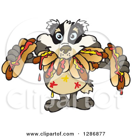 Clipart of a Hungry Badger Shoving Weenies in His Mouth at a Hot Dog Eating Contest - Royalty Free Vector Illustration by Dennis Holmes Designs