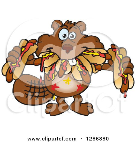 Clipart of a Hungry Beaver Shoving Weenies in His Mouth at a Hot Dog Eating Contest - Royalty Free Vector Illustration by Dennis Holmes Designs