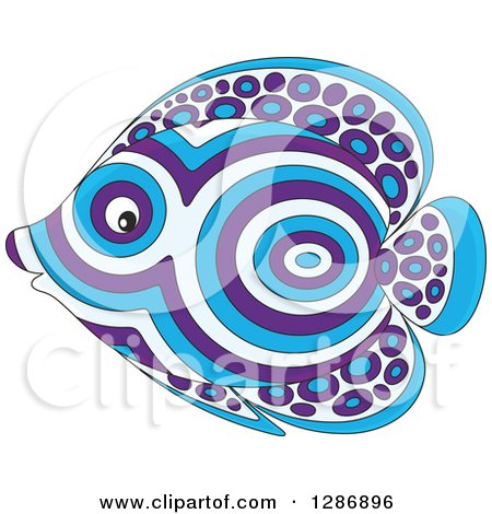 Clipart of a Blue and Purple Patterned Marine Fish Facing Left - Royalty Free Vector Illustration by Alex Bannykh