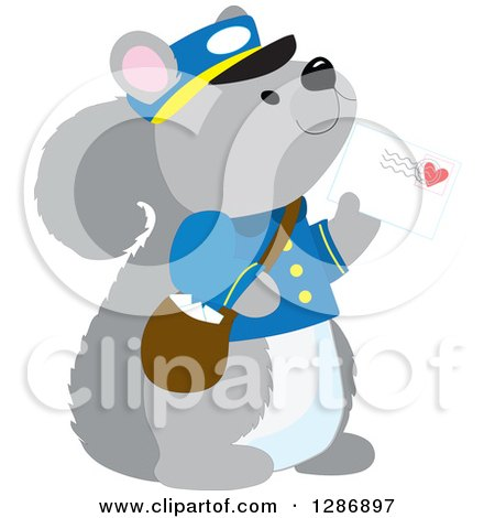 Clipart of a Cute Squirrel Postman Holding a Mail Envelope with a Love Heart - Royalty Free Vector Illustration by Maria Bell