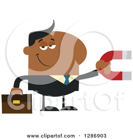 Clipart of a Modern Flat Design of a Black Businessman Holding a Magnet - Royalty Free Vector Illustration by Hit Toon