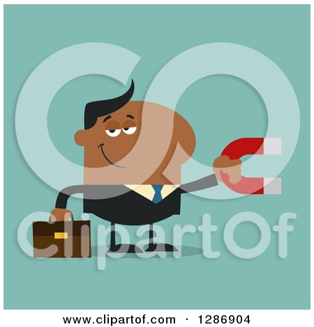 Clipart of a Modern Flat Design of a Black Businessman Holding a Magnet over Turquoise - Royalty Free Vector Illustration by Hit Toon