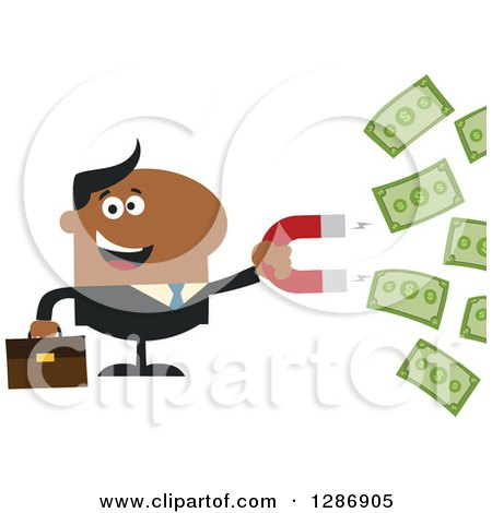 Clipart of a Modern Flat Design of a Black Businessman Holding a Magnet to Draw in Money - Royalty Free Vector Illustration by Hit Toon