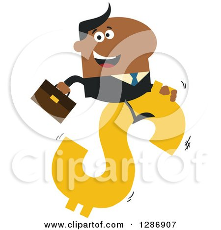 Clipart of a Modern Flat Design of a Black Businessman Riding a Dollar Currency Symbol - Royalty Free Vector Illustration by Hit Toon