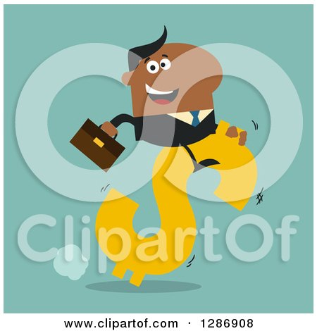 Clipart of a Modern Flat Design of a Black Businessman Riding a Dollar Currency Symbol on Turquoise - Royalty Free Vector Illustration by Hit Toon