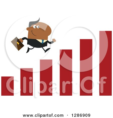 Clipart of a Modern Flat Design of a Black Businessman Running up a Growth Bar Graph - Royalty Free Vector Illustration by Hit Toon