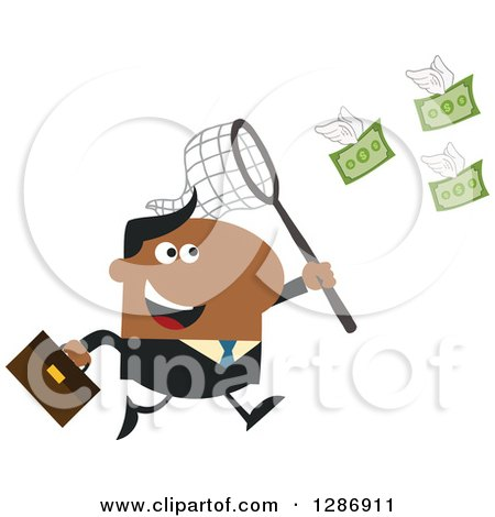 Clipart of a Modern Flat Design of a Black Businessman Chasing Flying Cash Money with a Net - Royalty Free Vector Illustration by Hit Toon