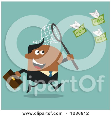 Clipart of a Modern Flat Design of a Black Businessman Chasing Flying Cash Money with a Net over Turquoise - Royalty Free Vector Illustration by Hit Toon