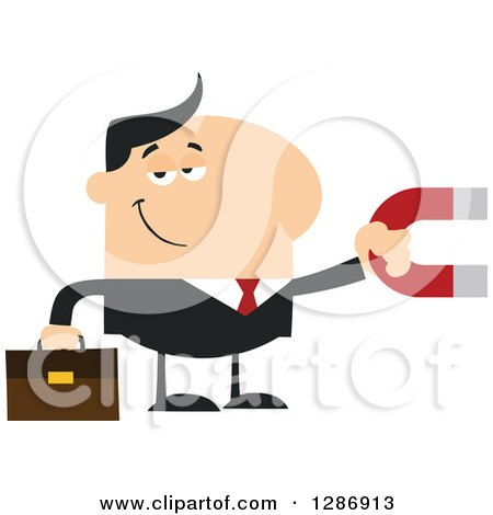 Clipart of a Modern Flat Design of a White Businessman Holding a Magnet - Royalty Free Vector Illustration by Hit Toon