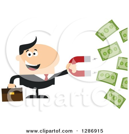 Clipart of a Modern Flat Design of a White Businessman Holding a Magnet and Drawing in Money - Royalty Free Vector Illustration by Hit Toon