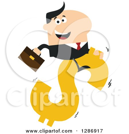 Clipart of a Modern Flat Design of a White Businessman Riding a Dollar Currency Symbol - Royalty Free Vector Illustration by Hit Toon