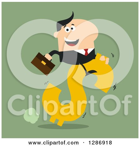 Clipart of a Modern Flat Design of a White Businessman Riding a Dollar Currency Symbol on Green - Royalty Free Vector Illustration by Hit Toon