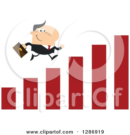Clipart of a Modern Flat Design of a White Businessman Running up a Growth Bar Graph - Royalty Free Vector Illustration by Hit Toon