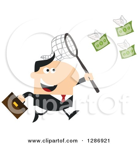 Clipart of a Modern Flat Design of a White Businessman Chasing Flying Cash Money with a Net - Royalty Free Vector Illustration by Hit Toon