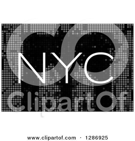 Clipart of a White NYC Text over a Pixel Historic Brooklyn Bridge in New York City - Royalty Free Illustration by Arena Creative