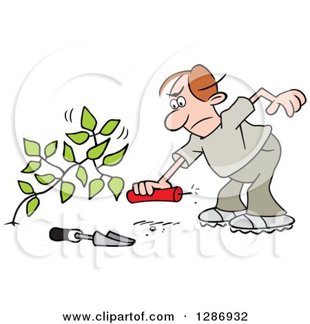 Clipart of an Angry Brunette Caucasian Man Laying a Stick of Dynamite by a Weed - Royalty Free Vector Illustration by Johnny Sajem