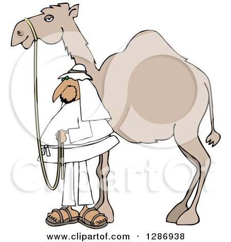 Clipart of an Arab Man Standing by His Pet Camel - Royalty Free Vector Illustration by djart