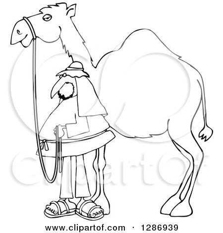 Clipart of a Black and White Man Standing by His Pet Camel - Royalty Free Vector Illustration by djart