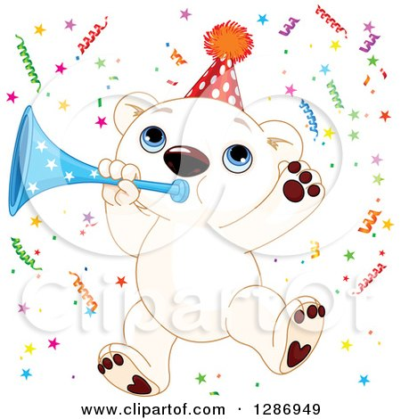 Clipart of a Cute Polar Bear Cub Jumping with a Horn and Party Confetti - Royalty Free Vector Illustration by Pushkin