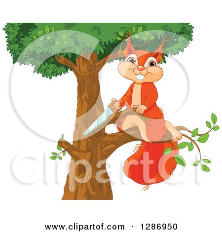Clipart of a Cute Happy Squirrel Sawing a Branch off of a Tree - Royalty Free Vector Illustration by Pushkin