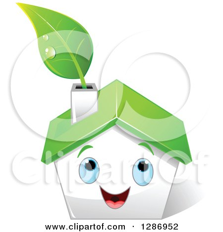 Clipart of a Happy White House with Blue Eyes, a Green Roof and Leaf in the Chimney - Royalty Free Vector Illustration by Pushkin