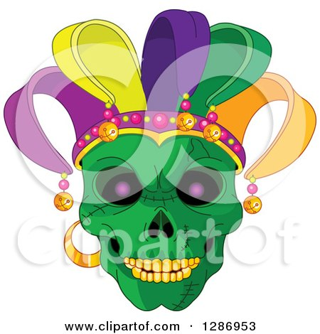 Clipart of a Green Mardi Gras Skull with a Jester Hat - Royalty Free Vector Illustration by Pushkin