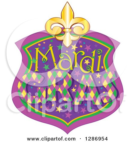 Clipart of a Mardi Gras Shield with a Gold Fleur De Lis - Royalty Free Vector Illustration by Pushkin