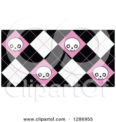 Clipart of a Pink Black and White Skull Diamond Pattern - Royalty Free Vector Illustration by Pushkin