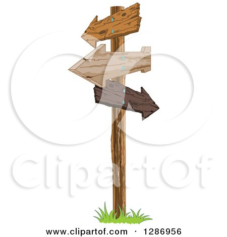 Clipart of a Post with Wooden Arrow Signs Pointing in Different Directions - Royalty Free Vector Illustration by Pushkin