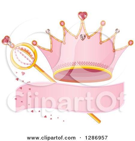 Clipart of a Pink Princess Tiara Crown, Blank Banner, Hearts and Magic Wand - Royalty Free Vector Illustration by Pushkin