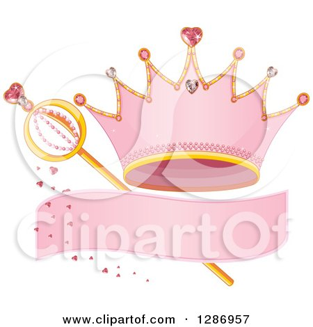 Pink Princess Tiara Crown, Blank Banner, Hearts and Magic Wand Posters, Art Prints