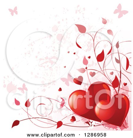 Clipart of a Valentines Day Background of Red Shiny Hearts, Vines and Pink Grunge with Butterflies - Royalty Free Vector Illustration by Pushkin
