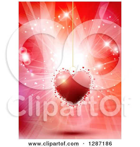 Clipart of a Suspended Red Heart Pendant over Flares and Lights - Royalty Free Vector Illustration by KJ Pargeter