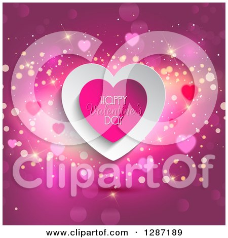 Clipart of a Hearts with Happy Valentines Day Text over Pink with Flares - Royalty Free Vector Illustration by KJ Pargeter