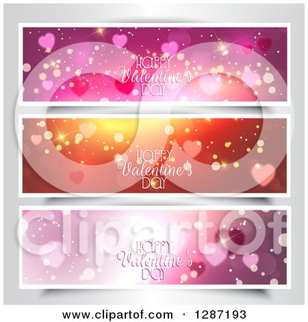 Clipart of Sparkly Website Banner Headers with Happy Valentines Day Text over Gray - Royalty Free Vector Illustration by KJ Pargeter